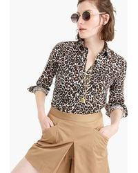 J.Crew - Petite Slim Perfect Shirt In Leopard Print Linen-cotton - Lyst