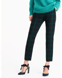 J.Crew - Martie Slim Crop Pant In Stretch Wool Blackwatch - Lyst