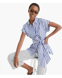 J.Crew Button-front Tie-waist Top In Bold Stripe Cotton Poplin