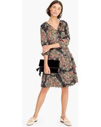 J.Crew - Point Sur Tiered Scalloped-hem Skirt In Paisley Satin-crepe - Lyst