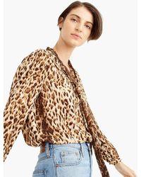 10de1e10e1636 Lyst - J.Crew Collection Silk Twill Button-up In Roaming Tiger Print ...