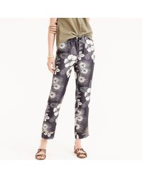 J.Crew - Pull-on Easy Pant In Floral-printed Silk Twill - Lyst