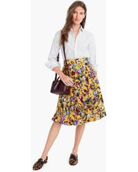J.Crew - Silk Double-pleated Midi Skirt In Floral Print - Lyst