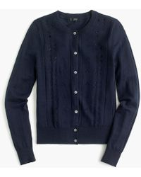 J.Crew - Jackie Cardigan Sweater With Eyelet Cutouts - Lyst