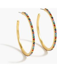 J.Crew - Pave Hoop Earrings - Lyst