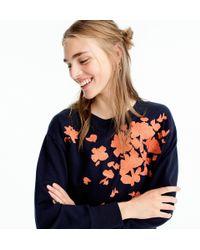 J.Crew - Embroidered Flower Sweatshirt - Lyst