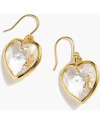 J.Crew - Crystal Heart Earrings - Lyst