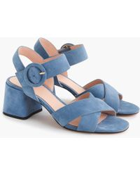 610afb16457 Lyst - J.Crew Suede Penny Sandals in Pink