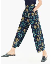 J.Crew - Wide-leg Cropped Floral Pant - Lyst