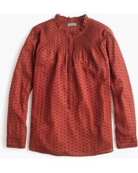 J.Crew - Point Sur Ruffle Classic Popover Shirt In Clip Dot - Lyst