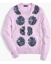 J.Crew Sequin Flower Jackie Cardigan Sweater - Purple