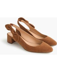 J.Crew - Slingback Bow Court Shoes (40mm) In Suede - Lyst