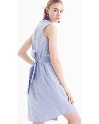 J.Crew - Sleeveless Shirtdress In Striped Cotton Poplin - Lyst