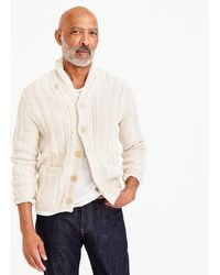 J.Crew - Shawl-collar Cotton Cable-knit Cardigan - Lyst