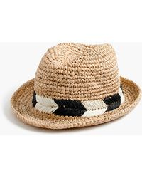 J.Crew - Straw Fedora Hat With Chevron Band - Lyst