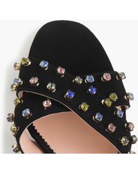 J.Crew - Suede Penny Sandals With Crystals - Lyst
