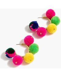 J.Crew - Pom-pom Hoop Earrings - Lyst