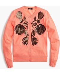 J.Crew - Sequin Floral Embroidered Cotton Jackie Cardigan Jumper - Lyst