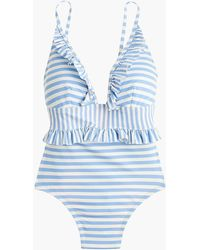 J.Crew - Ruffle Plunging One-piece Swimsuit In Mixed Stripe - Lyst