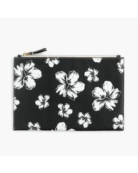 J.Crew - Large Pouch In Floral Printed Italian Leather - Lyst