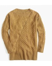 J.Crew - Oversized Patchwork Cable-knit Tunic Jumper - Lyst
