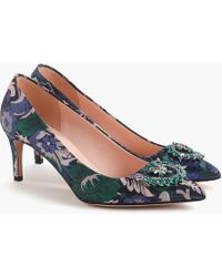 2373ff59c J.Crew - Pointed Toe Pumps With Embellishment In Metallic Jacquard - Lyst