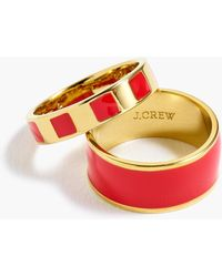 J.Crew - Striped And Solid Enamel Ring Set - Lyst