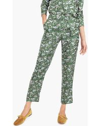 J.Crew - Petite Pull-on Easy Pant In Printed Silk Twill - Lyst