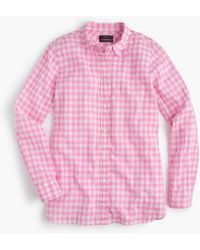 J.Crew - Tall Classic-fit Boy Shirt In Crinkle Gingham - Lyst