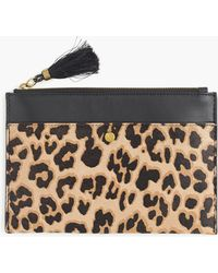 J.Crew - Medium Pouch In Calf Hair And Leather - Lyst