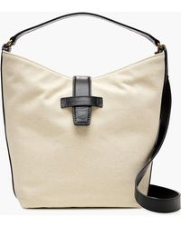 J.Crew - Signet Hobo Bag In Italian Leather & Canvas - Lyst