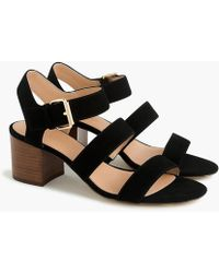 J.Crew - Three-strap Sandals In Suede - Lyst