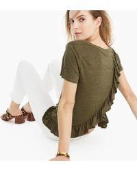 J.Crew - Linen Ruffle-back T-shirt - Lyst