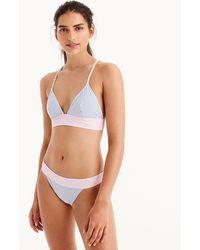 J.Crew - Banded T-back Bikini Top In Colorblock Seersucker - Lyst
