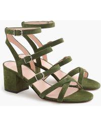 J.Crew - Buckled Mid-heel Sandals In Suede - Lyst