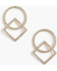 J.Crew - Pavé Circle And Square Earrings - Lyst
