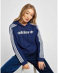 b3c9f834dd9 adidas Originals - 3-stripes Linear Overhead Hoodie - Lyst
