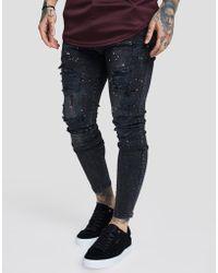 SIKSILK - Ripped Paint Denim Jeans - Lyst