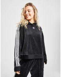 adidas Originals - 3-stripes Velvet Crop Overhead Hoodie - Lyst