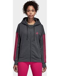 adidas - Essentials 3 Stripes Full Zip Hoodie - Lyst
