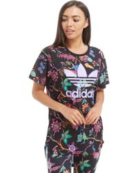 adidas Originals - Longline Trefoil All Over Print T-shirt - Lyst