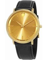Movado - Ultra Slim Yellow Gold Dial Watch 0607156 - Lyst