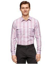 Calvin Klein - Mens Slub Ombre Plaid Button Up Shirt Phlox S - Lyst