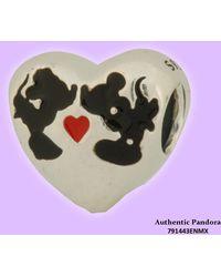 PANDORA - Disney Minnie & Mickey Kiss Charm In 925 Sterling Silver - Lyst