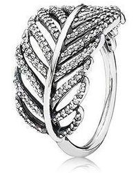 PANDORA - Light As A Feather Clear Cz Ring - Lyst