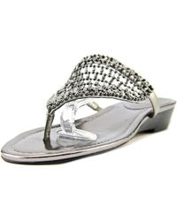 Vince Camuto - Imombo Wedge Thong Rhinestone Beaded Sandals Shoe - Lyst