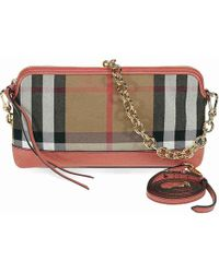 Burberry - House Check And Leather Clutch - Lyst
