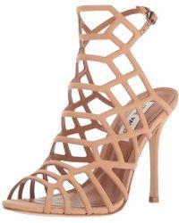 9531b2af722 Lyst - Steve Madden Slithur Rose Gold Caged Heeled Sandals in Metallic
