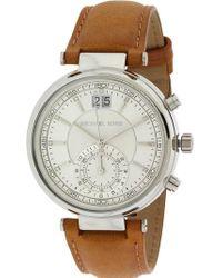 Michael Kors - Sawyer Chronograph Leather Watch - Lyst