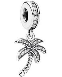 PANDORA - Sterling Silver Sparkling Palm Tree Pendant Charm - Lyst